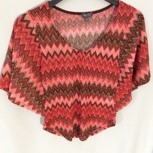 Lily Rose Butterfly Sleeve chevron knit to…